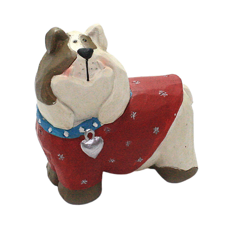 blossom bucket bulldog in blue collar figurine