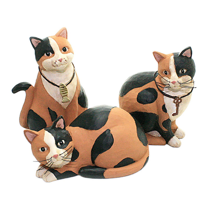 blossom bucket set of 3 calico cat figurines