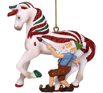 trail of painted ponies candy coated treat pony and elf ornament