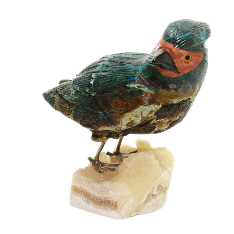 carved gemstone cardinal bird sculpture view 2