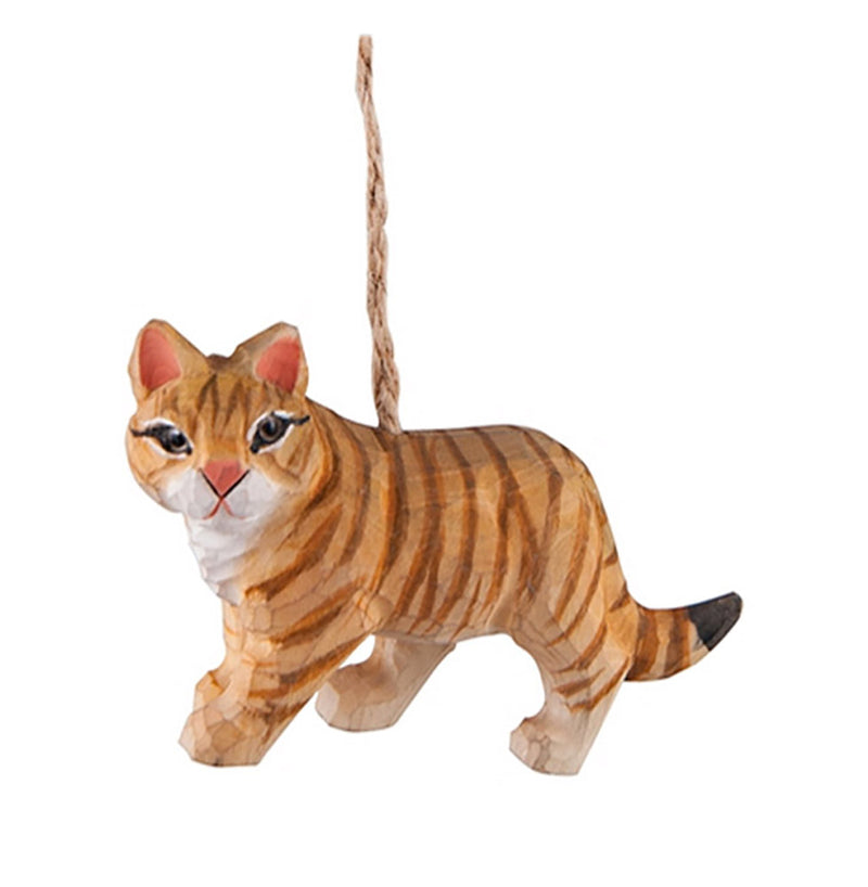 hand carved wood tabby cat ornament full view