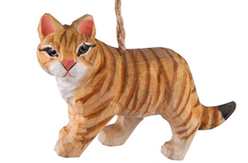 hand carved wood tabby cat ornament