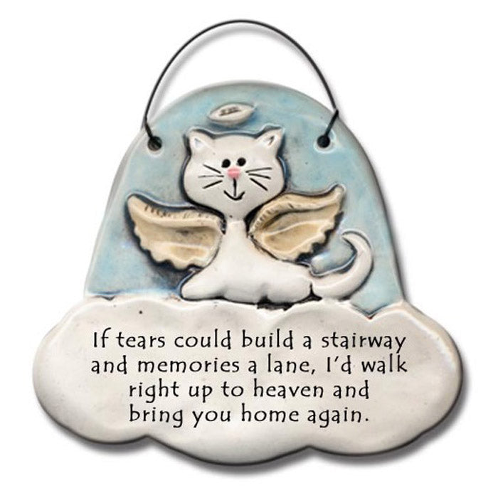 cat angel hanging memorial plaque