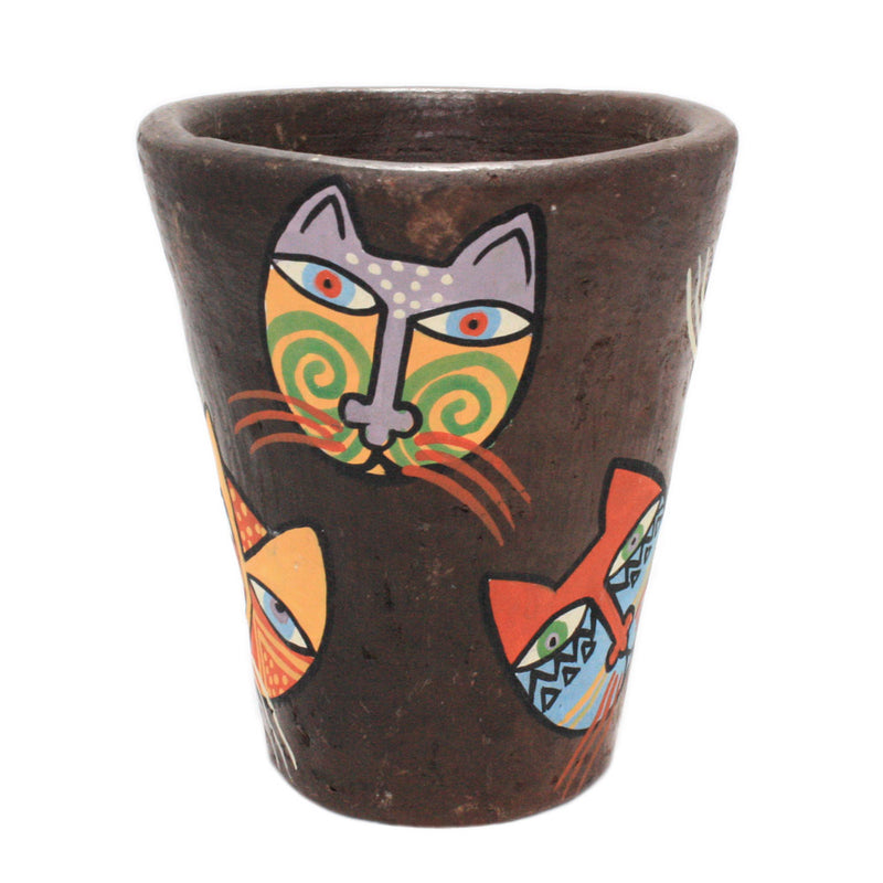 painted cat art clay pot view 4