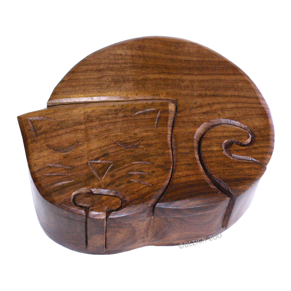 hand made wood cat puzzle trinket box