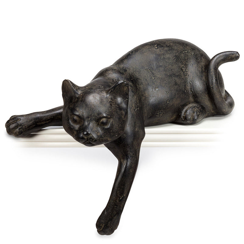 cat peering over edge shelf sitter figurine
