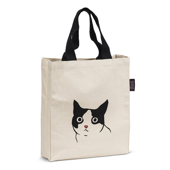 black and white cat canvas tote bag
