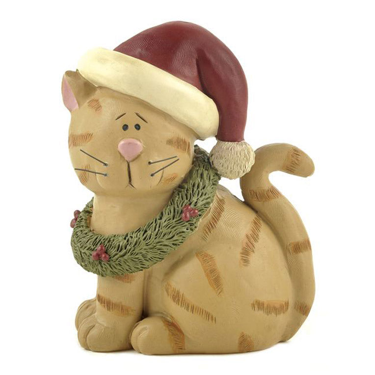 blossom bucket cat in santa hat with wreath figurine