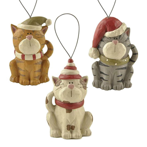 blossom bucket cats in stocking caps ornaments