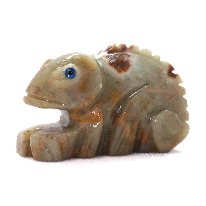 minature carved soapstone chameleon left side view