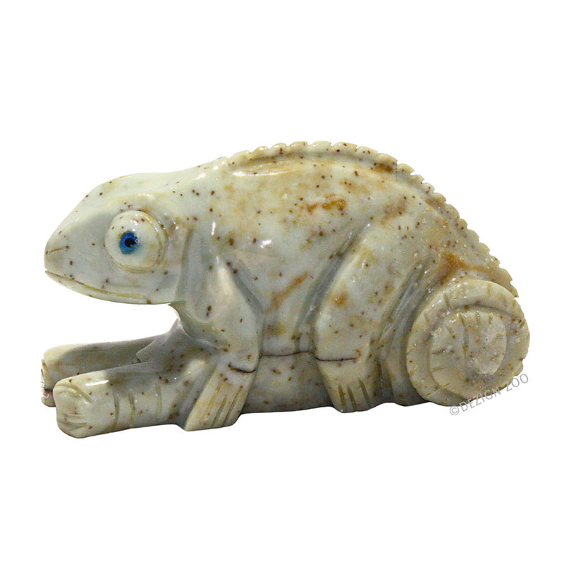 carved soapstone chameleon left side view