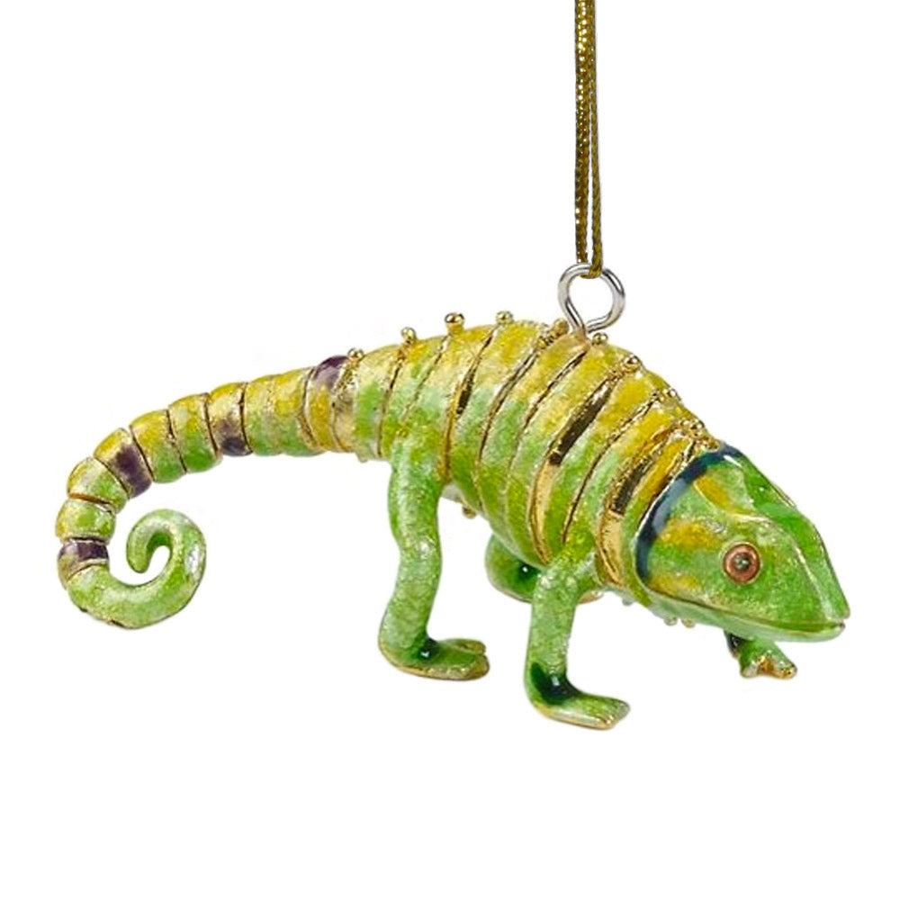 articulated cloisonne chameleon ornament