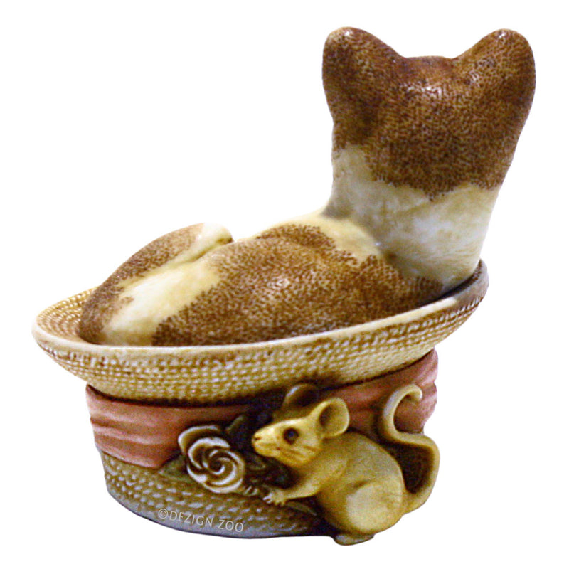 harmony kingdom chapeau ginger cat in straw hat back view