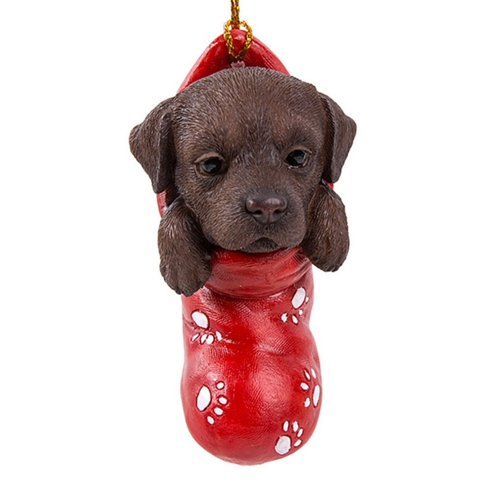 chocolate lab in christmas stocking ornament