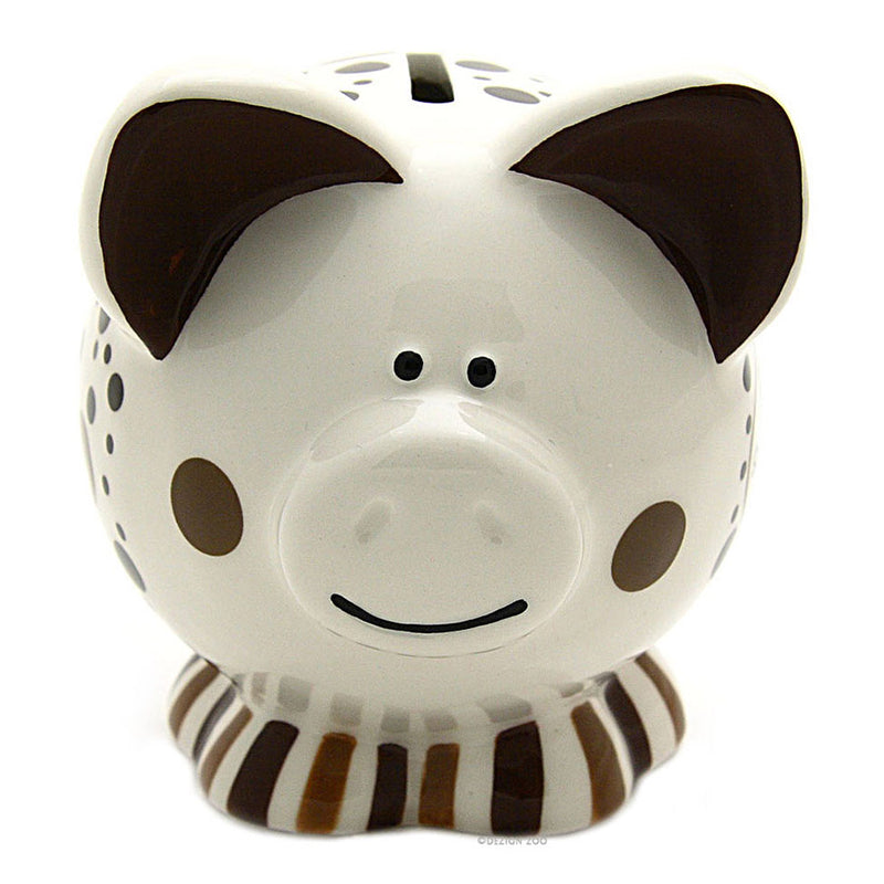 chocolate lovers ceramic piggy bank front view