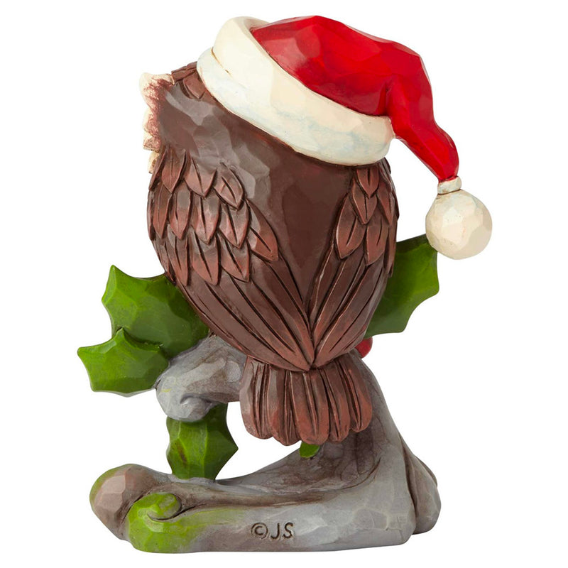 jim shore mini christmas owl on branch figurine back view