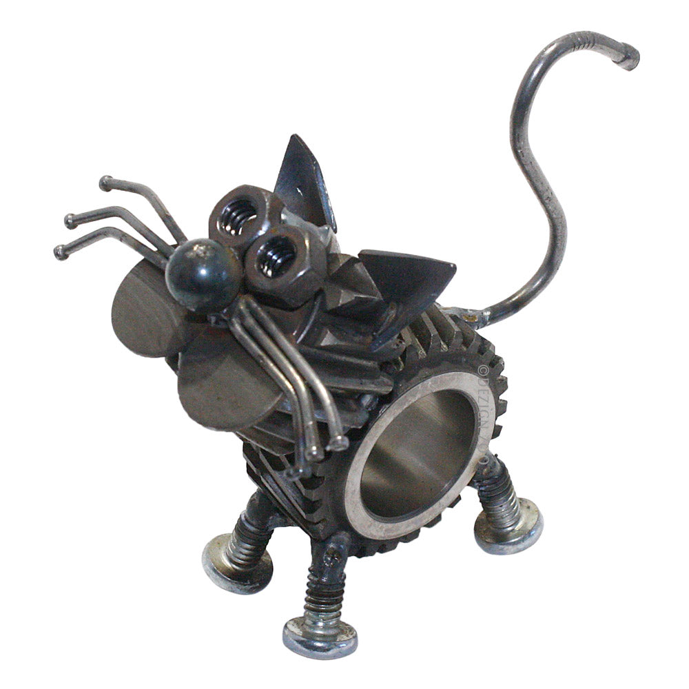 metal sun gear cat sculpture