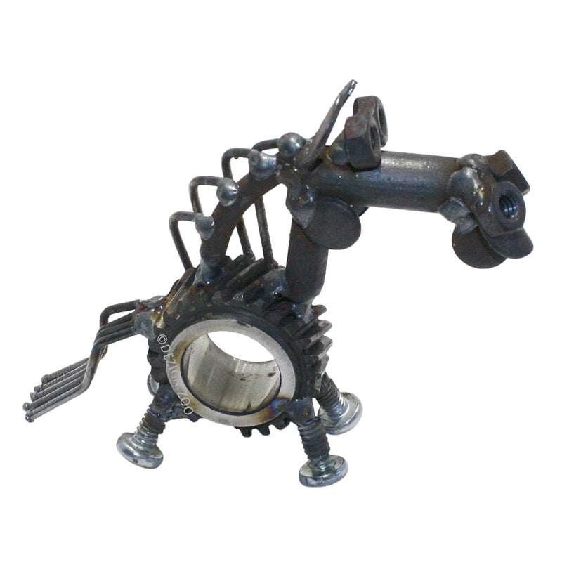 recycled metal sun gear horse sculpture alt view