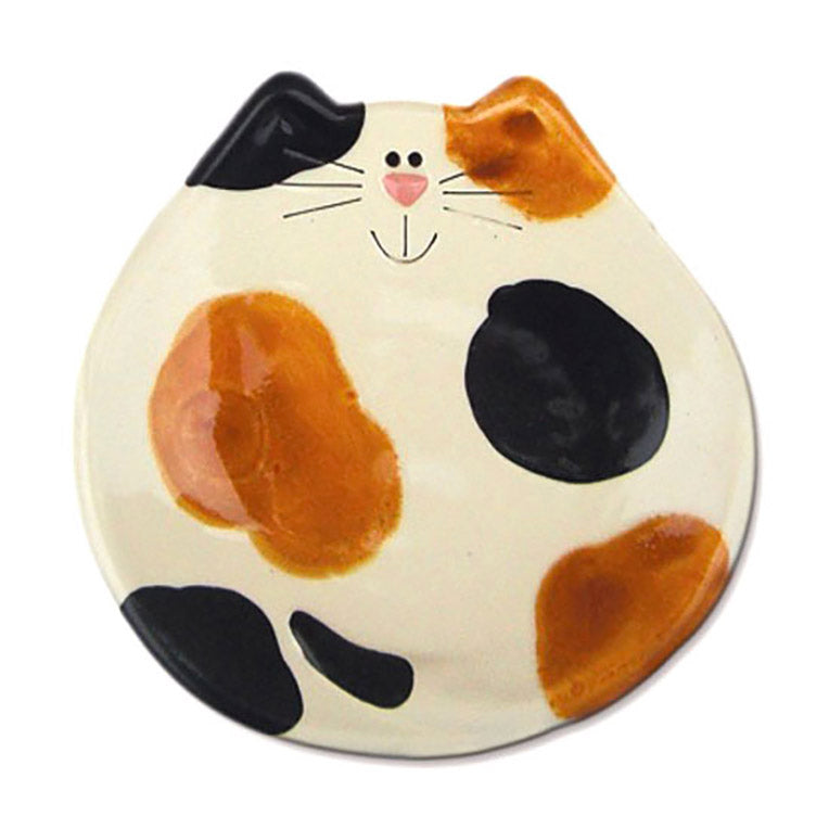 ceramic calico cat dish spoon rest