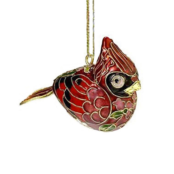 cloisonne cardinal bird christmas ornament