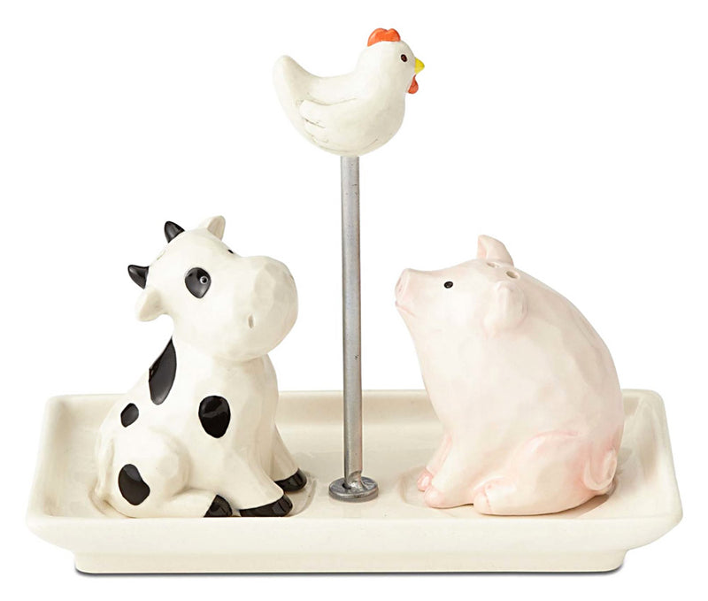 ceramic cow pig and chicken salt and pepper shakers