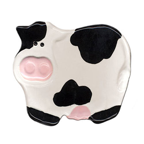 august ceramics black and white cow spoon rest