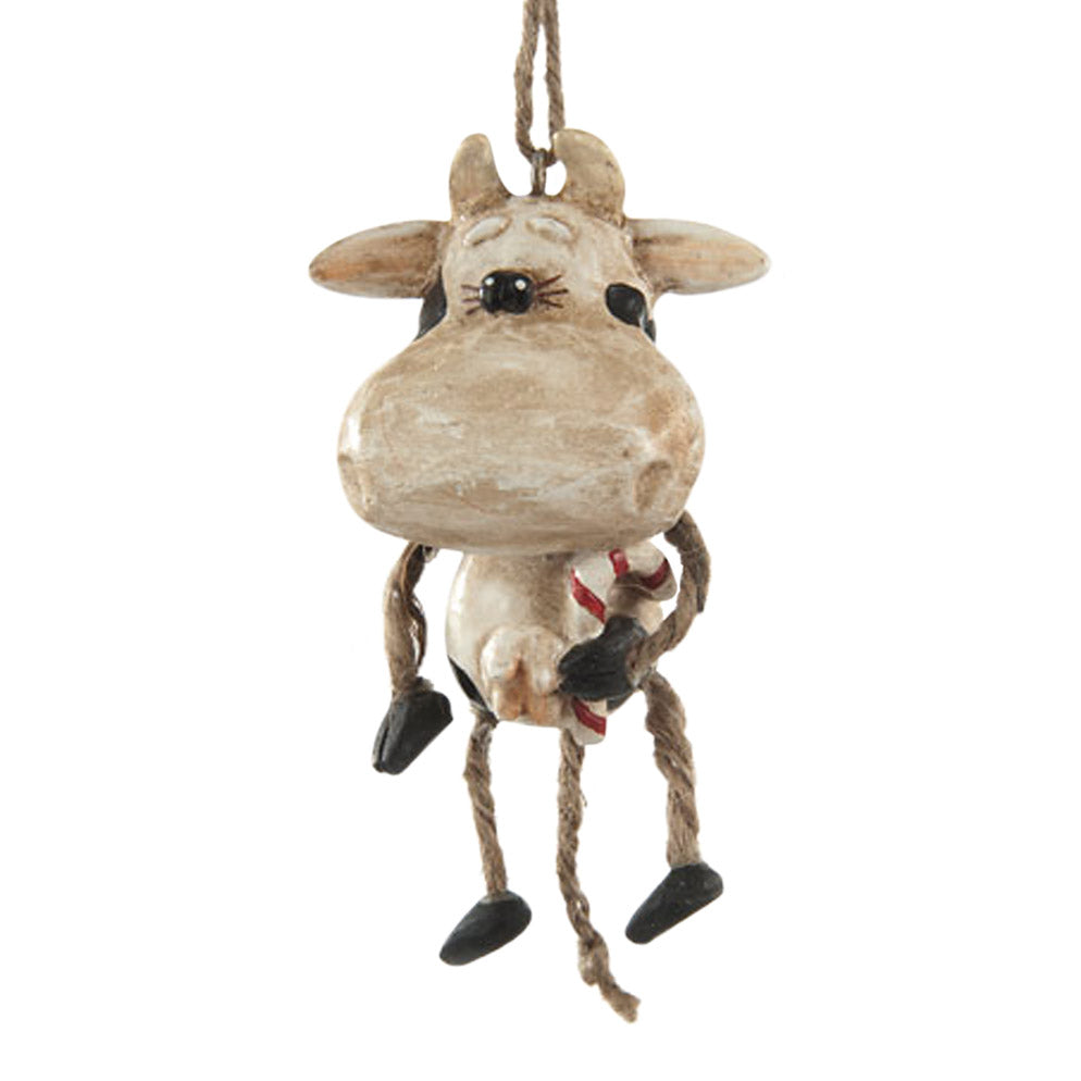 resin and jute cow with candy cane ornament