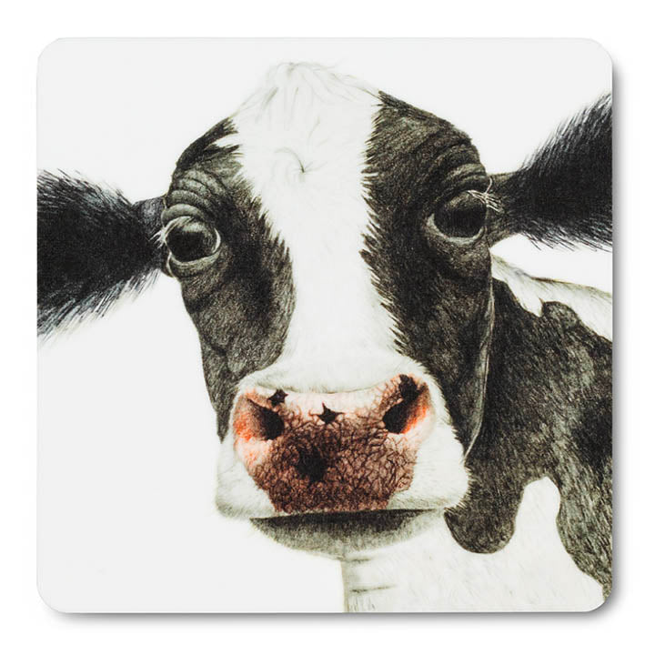 wood black and white cow coaster