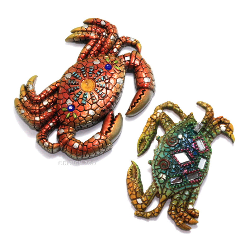 mirror and jewel crab refrigerator magnets