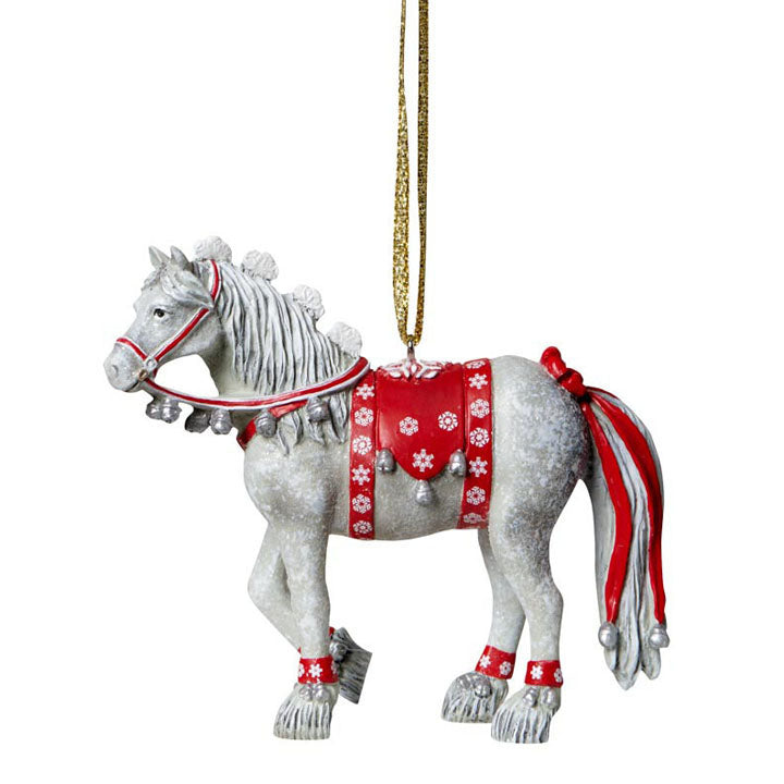 painted ponies dashing through the snow ornament full view