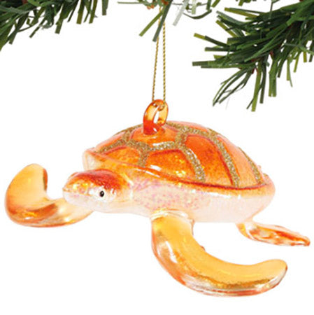 department 56 orange glass sea turtle ornament