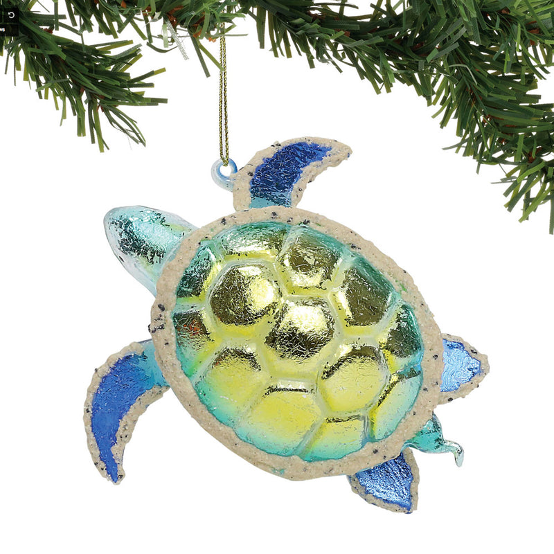 departmen 56 foiled glass sea turtle ornament on tree