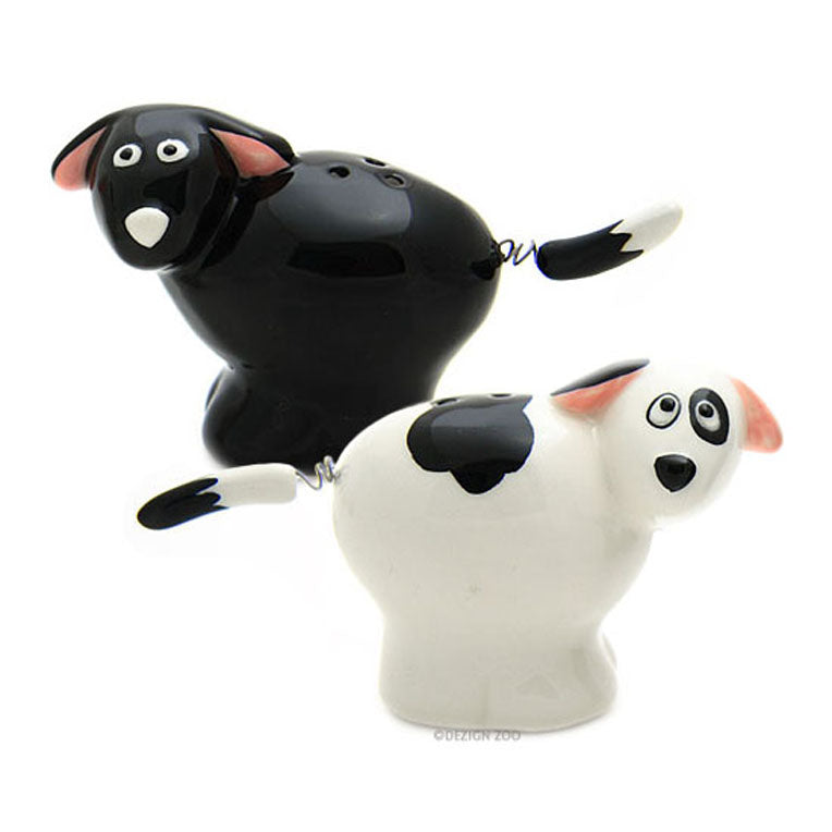 spring tailed ceramic dog salt and pepper shakers