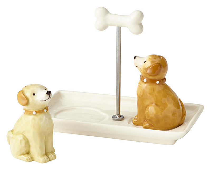 dogs with bone handle tray salt and pepper shaker set alt view