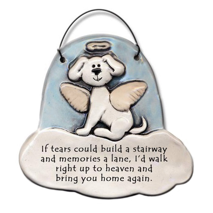 dog angel memorial hanging ornament plaque