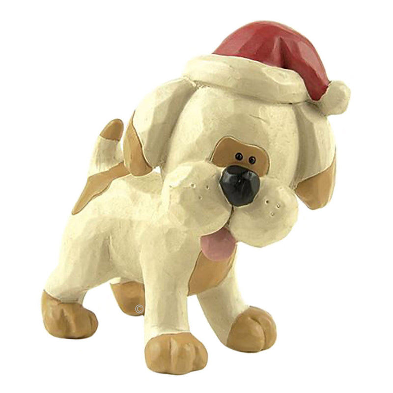 blossom bucke spotted dog in santa hat figurine