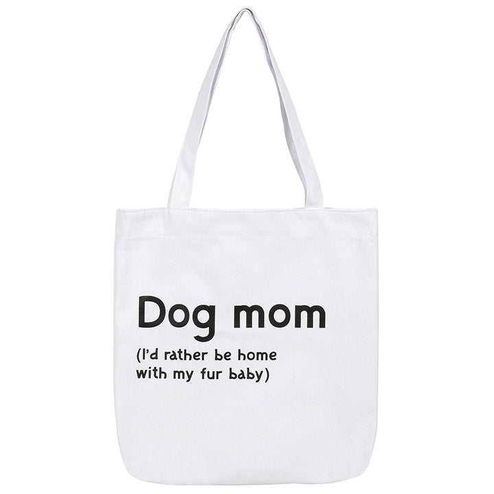 canvas dog mom tote bag