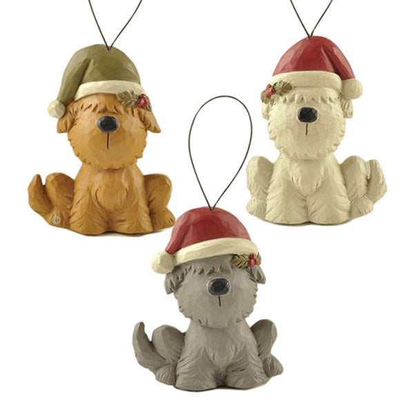 blossom bucket dogs in hats christmas ornaments