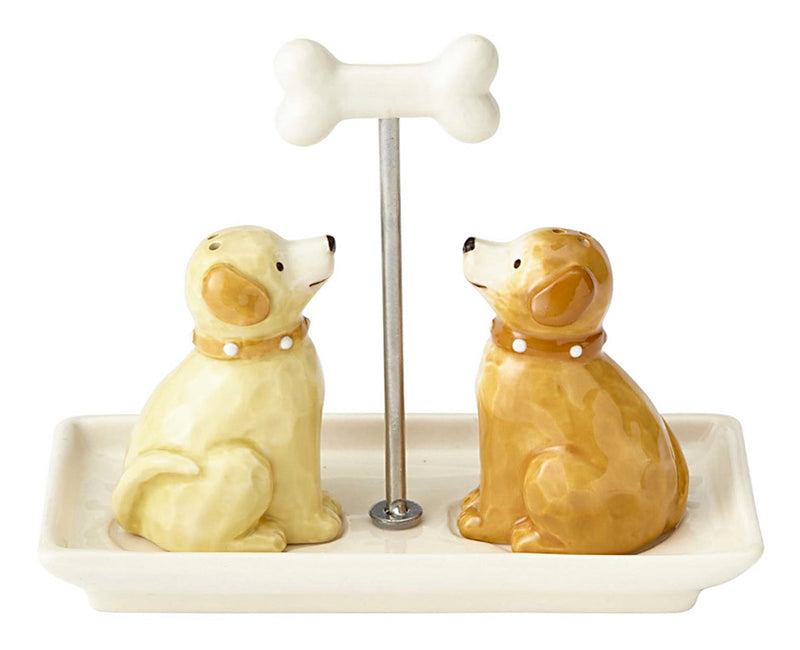 dogs with bone handle tray salt and pepper shaker set