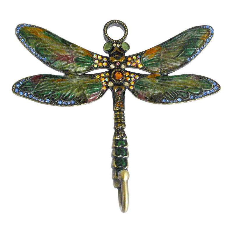bejeweled enamel dragonfly wall hook