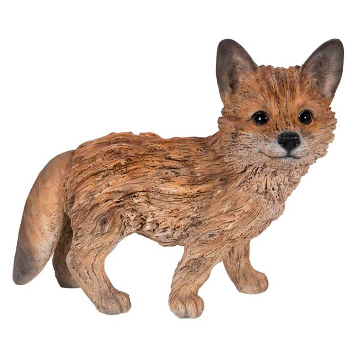 carved driftwood fox figurine