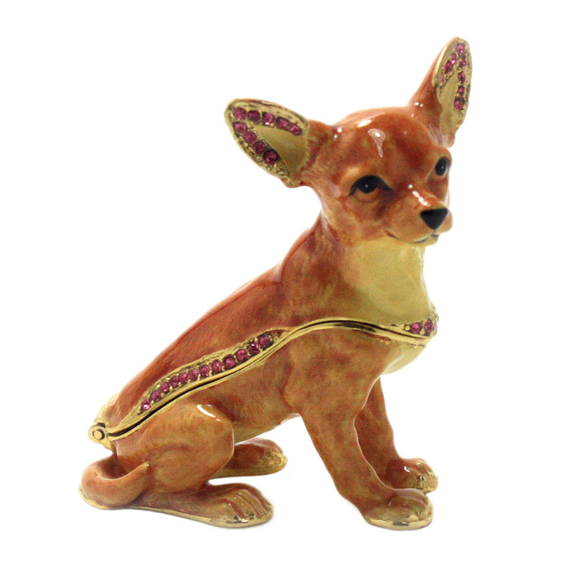 bejeweled chihuahua trinket box side view