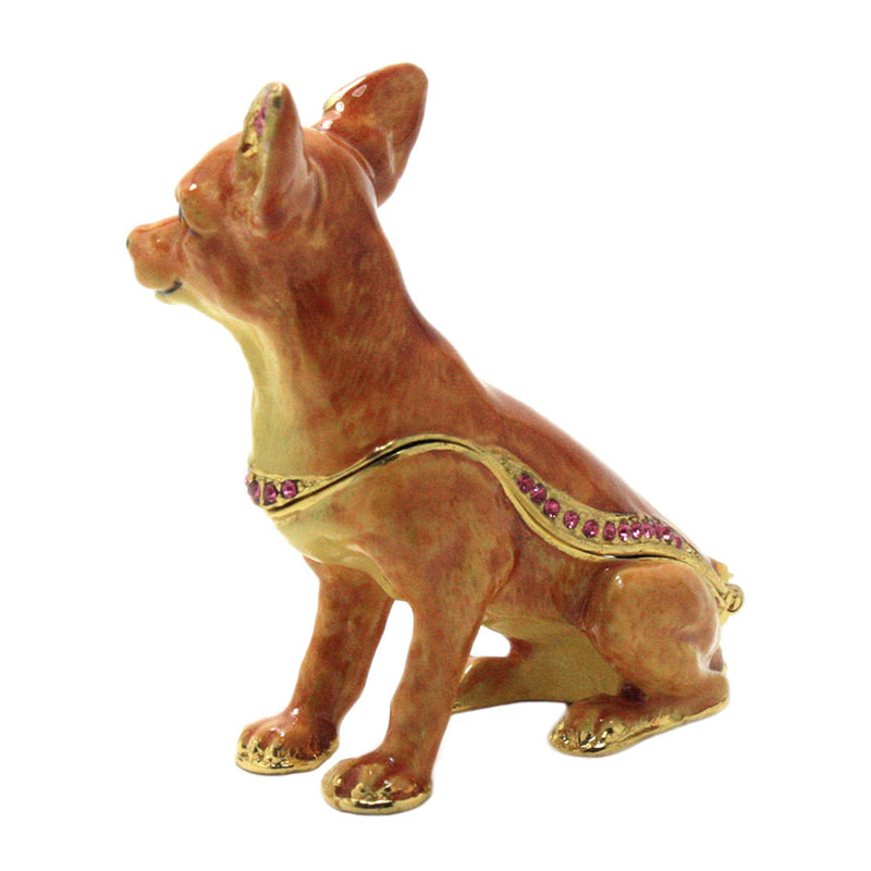 crystal accented chihuahua trinket box side view