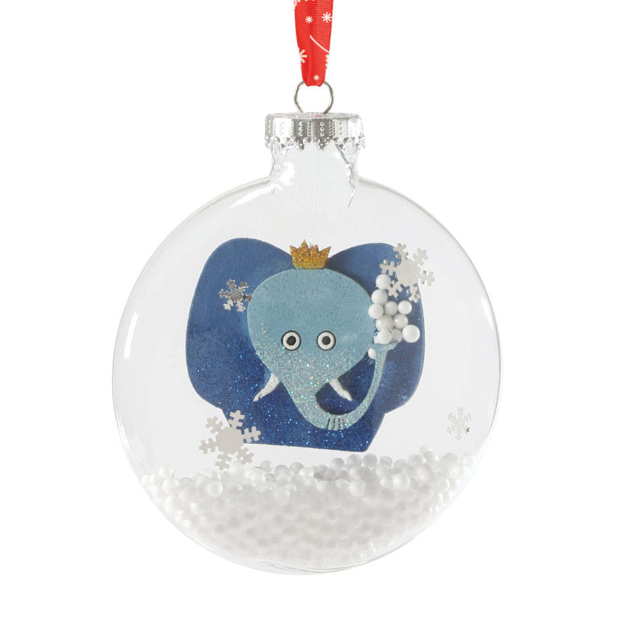 Jumbo Snow-Filled Glass Disc Elephant Ornament