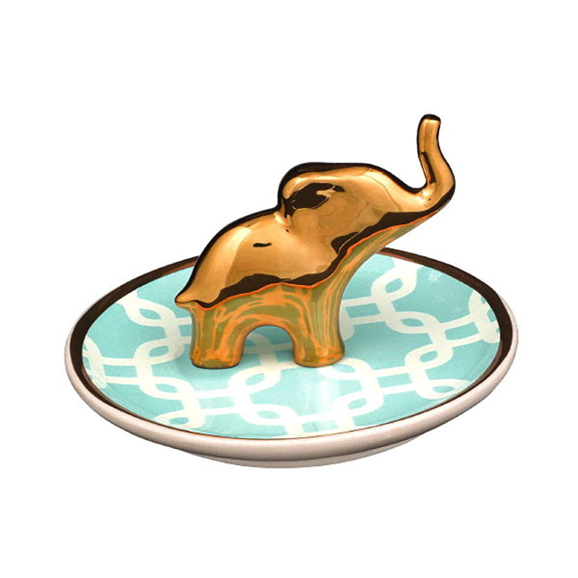ceramic golden elephant jewelry dish