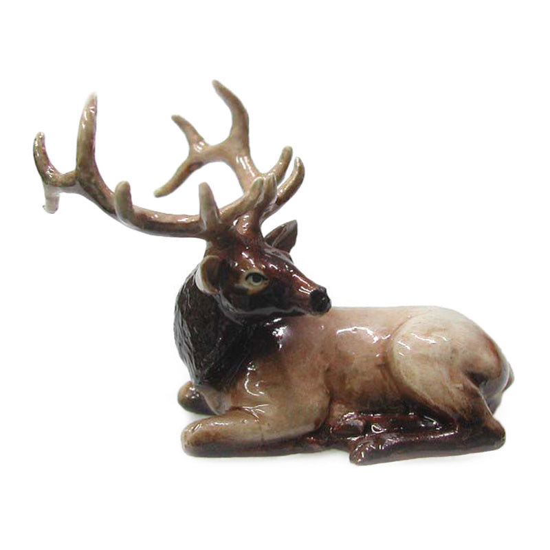 miniature elk lying down figurine