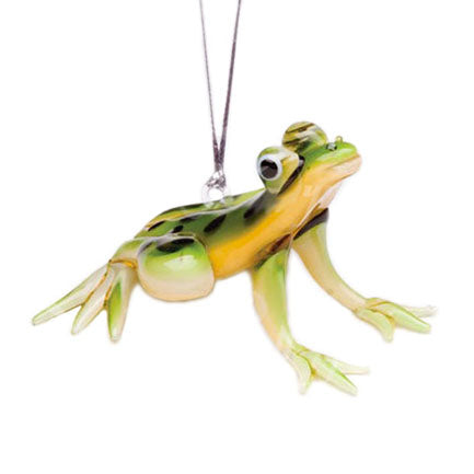 glass tree frog hanging figurine ornament