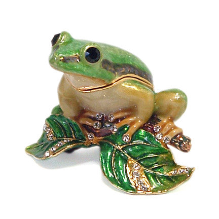 bejeweled frog on branch trinket box