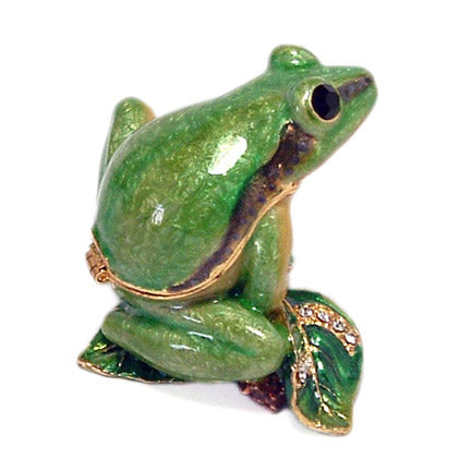 bejeweled frog on branch trinket box back view