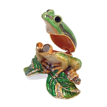 bejeweled frog on branch trinket box open